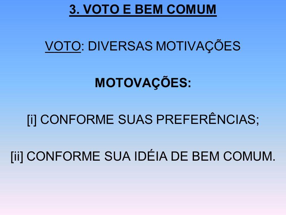 VOTO: DIVERSAS MOTIVAÇÕES MOTOVAÇÕES: [i] CONFORME SUAS PREFERÊNCIAS;